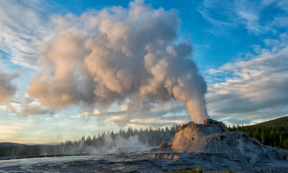 Castle Geyser erupting at Yellowstone national park, Wyoming, US.