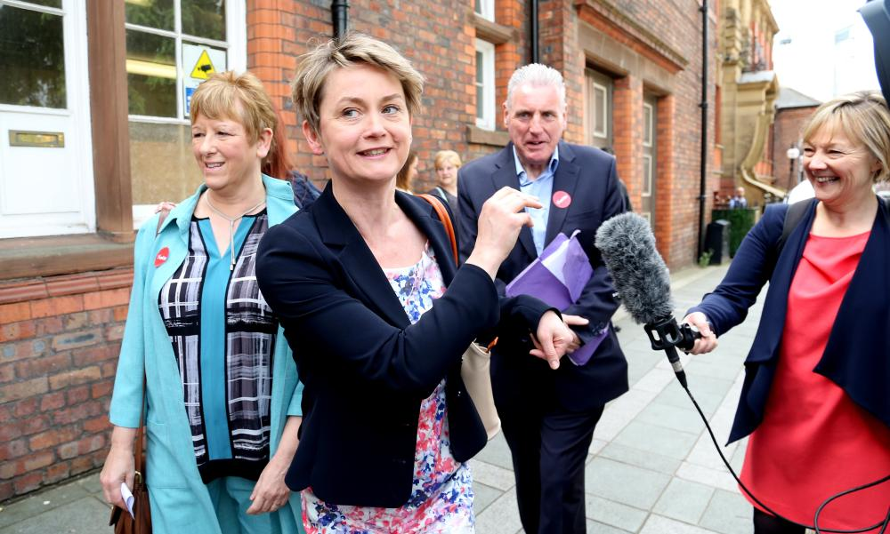 Cooper arrives for the Labour leadership hustings at the Pyramid Parr Hall in Warrington on 25 July.