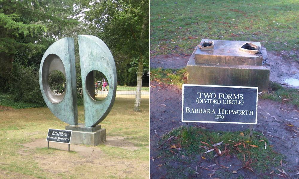 Barbara Hepworth's Two Forms (Divided Circle) before it was ripped from its plinth in Dulwich park.