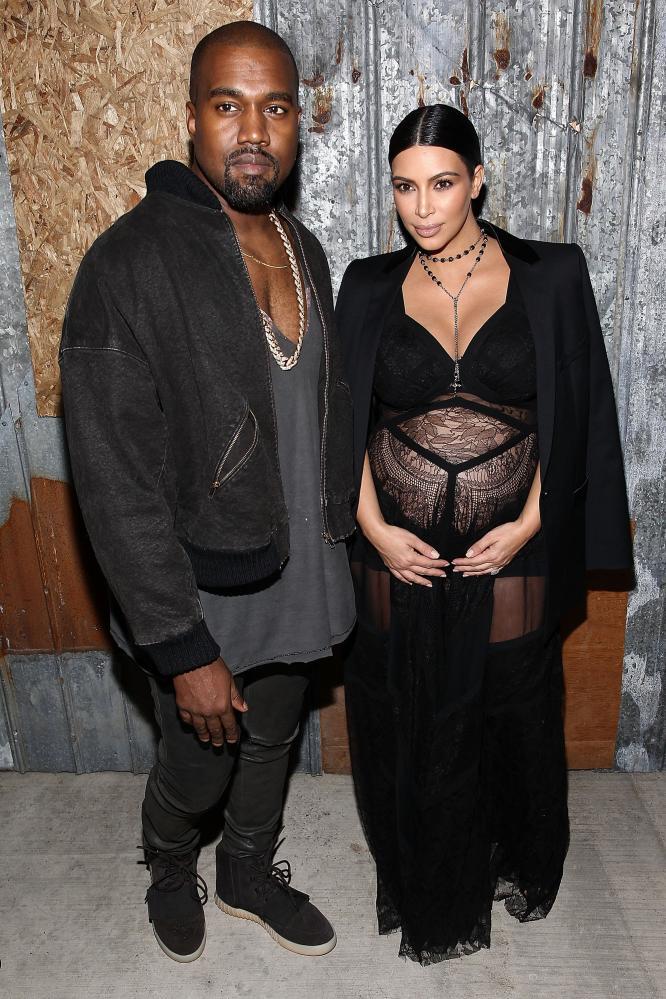 Kanye West and Kim Kardashian at the Givenchy fashion show.