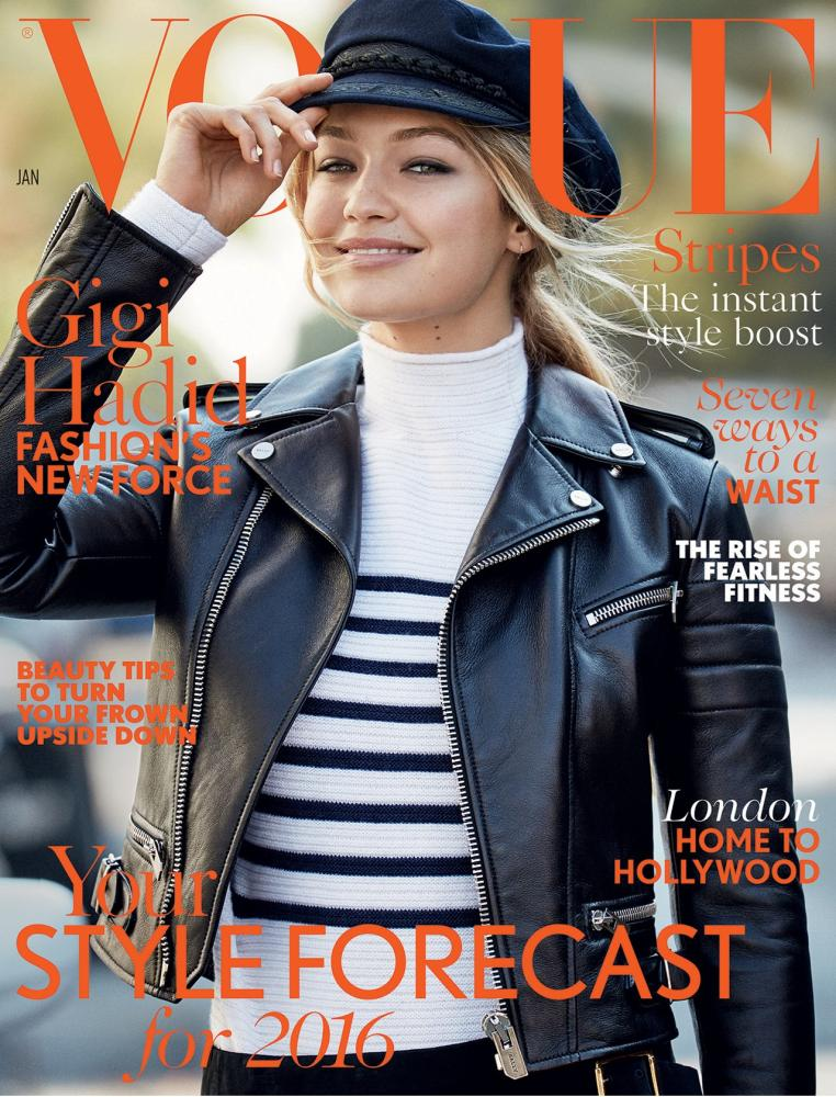 Gigi Hadid on the cover of January's Vogue.