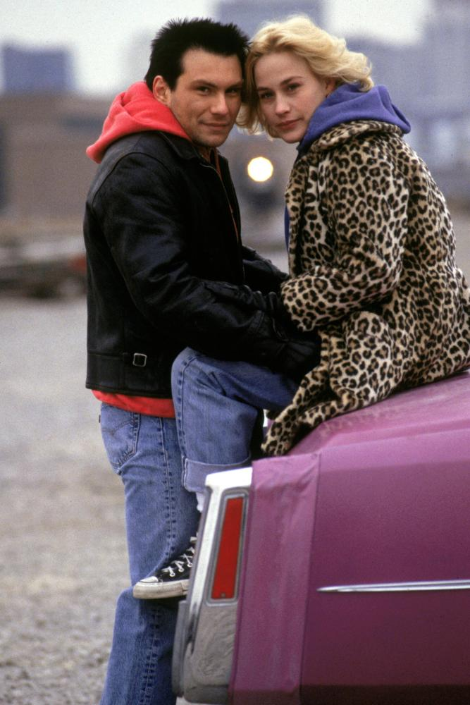 True Romance's Alabama Whitman in leopard-print grunge.