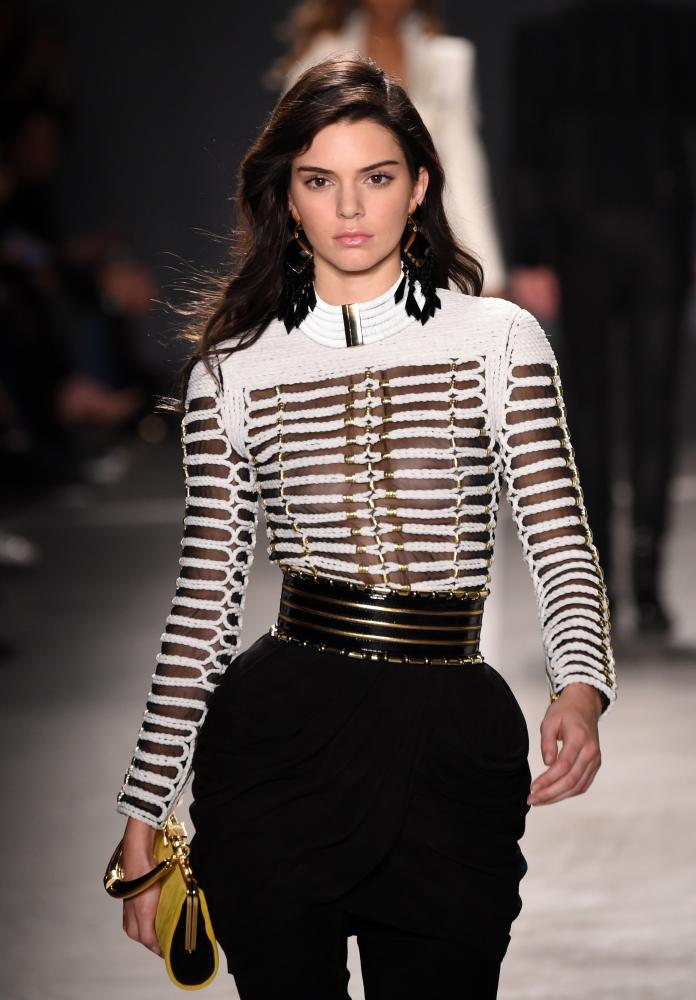 Kendall Jenner on the Balmain x H&M catwalk