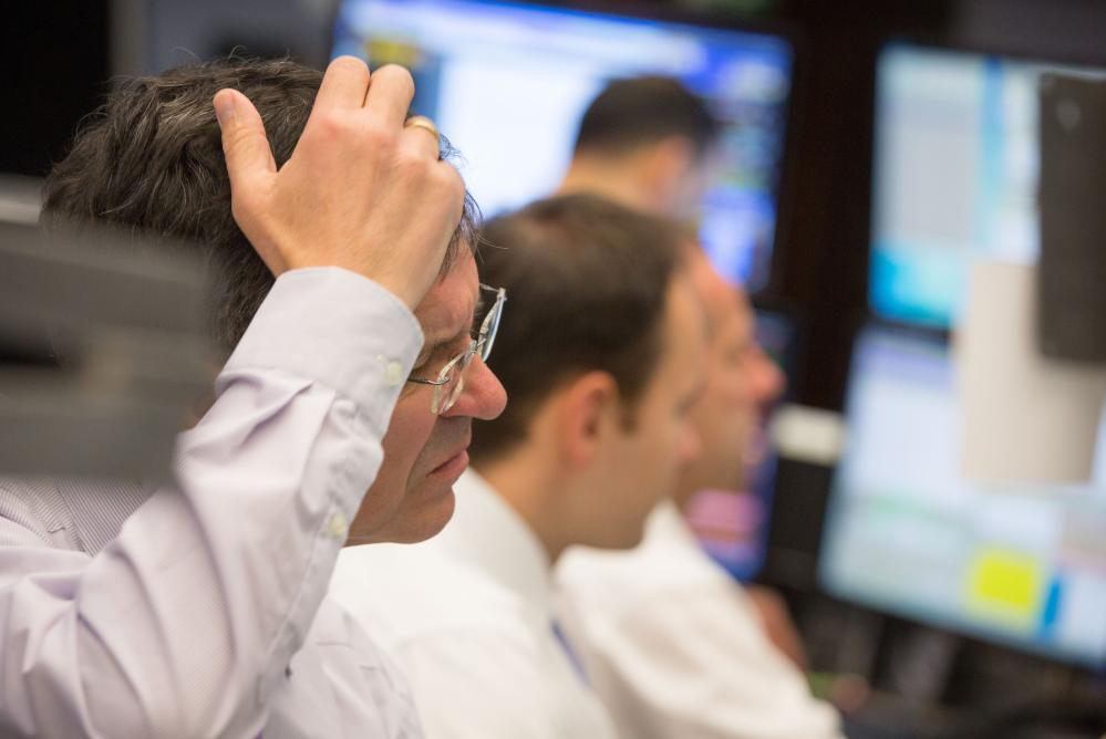 Stock exchange in Frankfurt - Dax drops below 10,000<br />07 Jan 2016, Rhineland, Germany &#8212; Traders look at their screens on the trading floor at the stock exchange in Frankfurt am Main, Germany, 07 January 2016. China's ongoing stocks slump is continuing to affect the German stock market. Germany's DAX stock market index dropped below 10,000 points. Photo: FRANK RUMPENHORST/dpa &#8212; Image by © Frank Rumpenhorst/dpa/Corbis&#8221; width=&#8221;1000&#8243; height=&#8221;668&#8243; class=&#8221;gu-image&#8221; /> </figure> <p>German exporters such as <strong>BMW</strong>, <strong>Daimler</strong>, <strong>Volkswagen</strong> and <strong>ThyssenKrupp</strong> led the selloff, all falling by around 4%. They are all vulnerable to a sharp slowdown in the Chinese economy.</p> </p></div> </p></div> <div id=