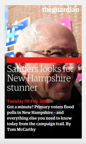 New Hampshire primary: Bernie Sanders gives victory speech – live