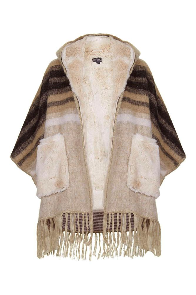 Topshop Faux-Fur Lined Wool Mix Cape, £98.