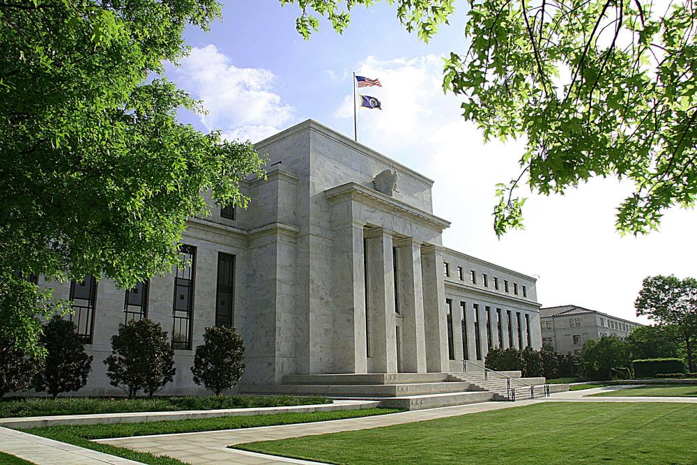 "(FILES) This May 4, 2008 file photo shows the US Federal Reserve Building in Washington, DC. The Federal Reserve kept its benchmark federal funds interest rate unchanged at near zero percent as expected July 29, 2015, providing no fresh hints on when a long-awaited rate rise might come. The Federal Open Market Committee said the US economy has expanded ""moderately"" in recent months and the jobs market has strengthened, but noted continued ""soft"" business investment and exports. AFP PHOTO/Karen BLEIERKAREN BLEIER/AFP/Getty Images"
