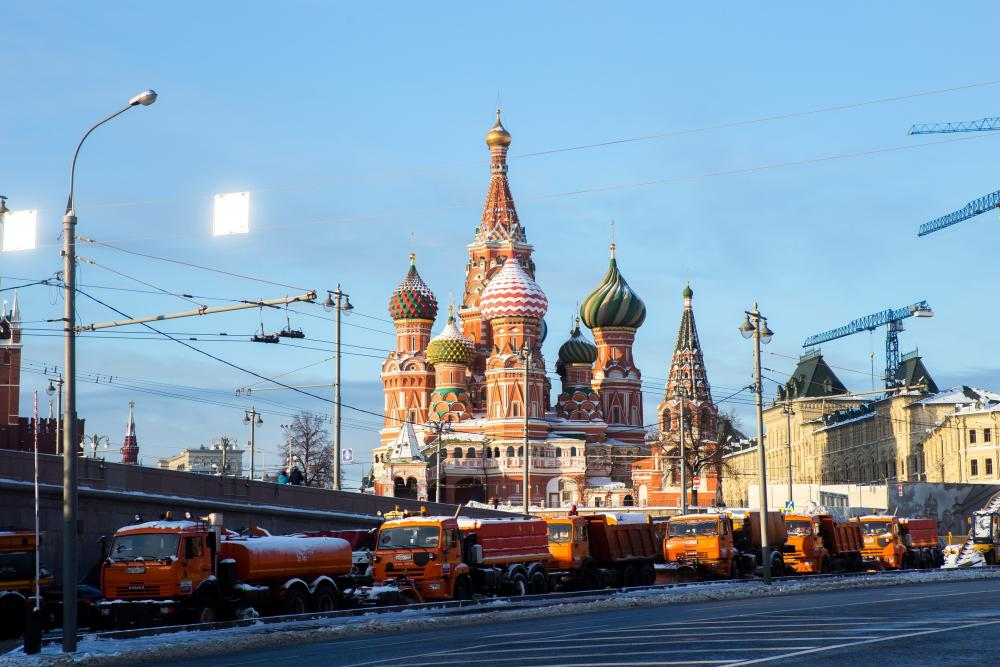 Snow-cleaning trucks stand by Red Square in Moscow, yesterday.