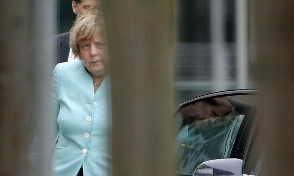 Merkel arrives at the chancellery in Berlin this morning.