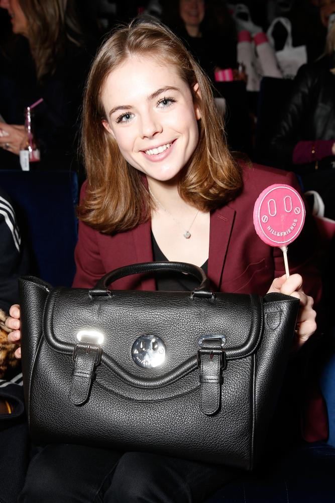 Model Rosie Tapner shows off a Hill & Friends bag