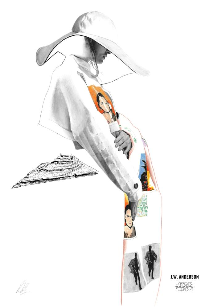 A sketch of JW Anderson's catwalk design for Star Wars