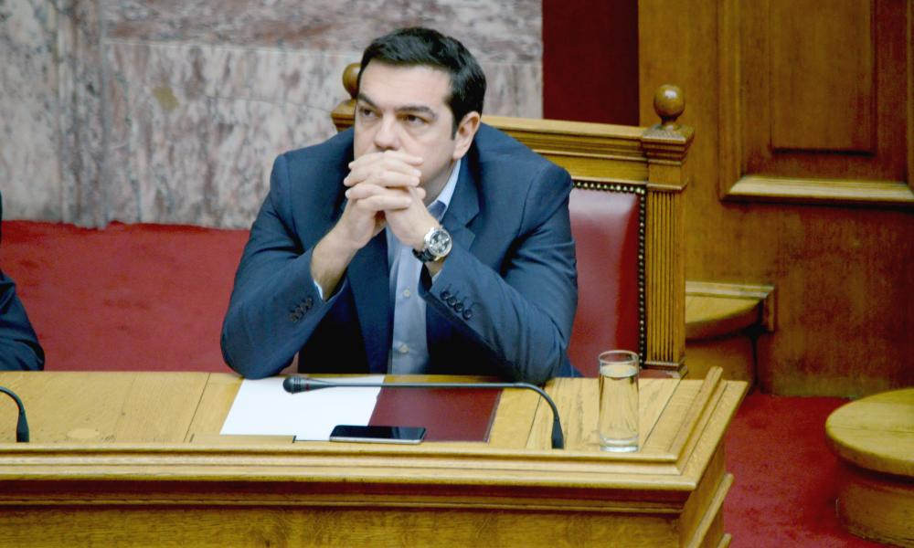 Prime Minister of Greece Alexis Tsipras in parliament last night.