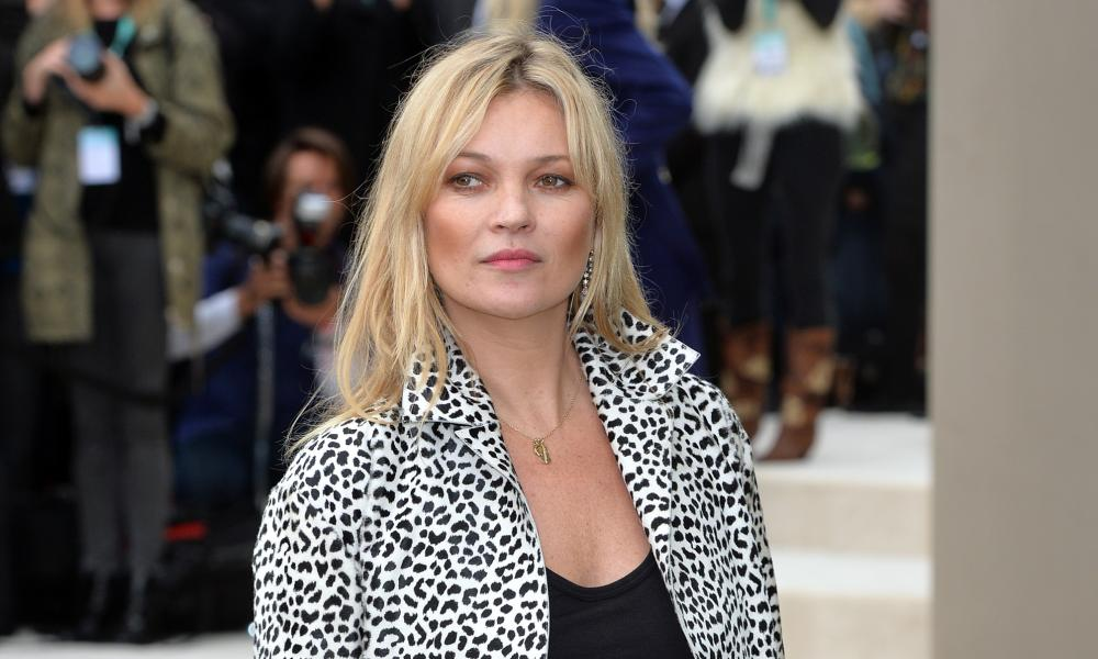 Moss in her signature leopardprint at the Burberry SS16 show