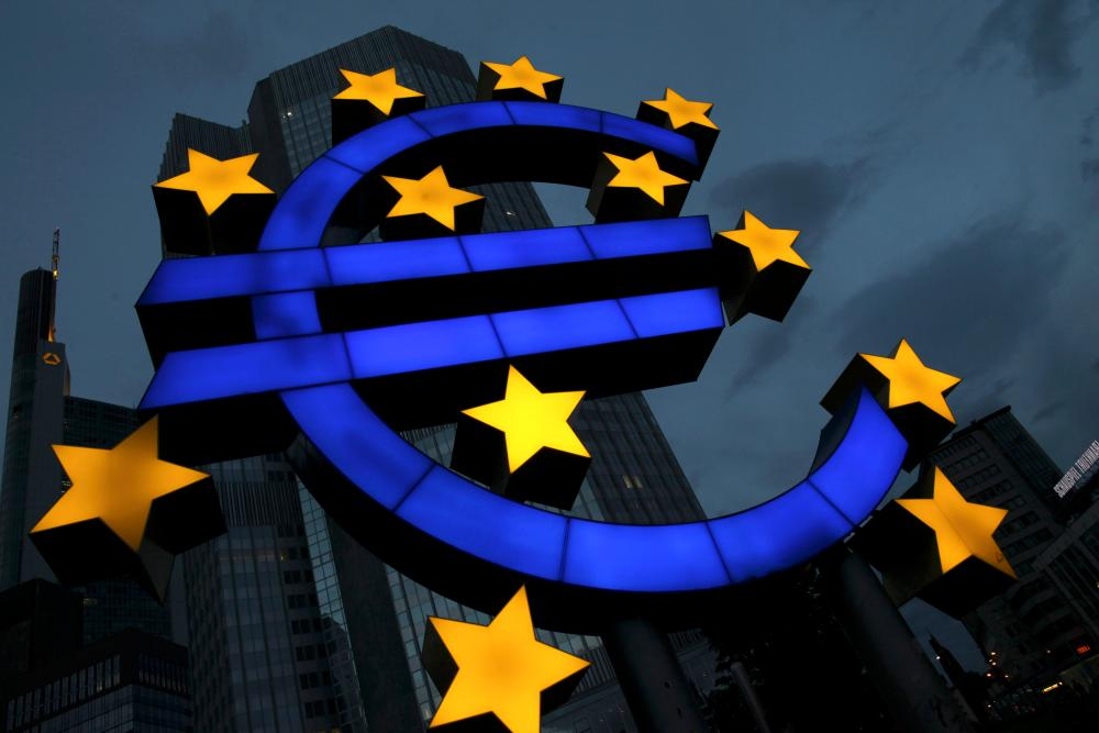 A Euro logo stands in front of the headquarters of the European Central Bank (ECB) on June 21, 2011 in Frankfurt am Main, Germany.