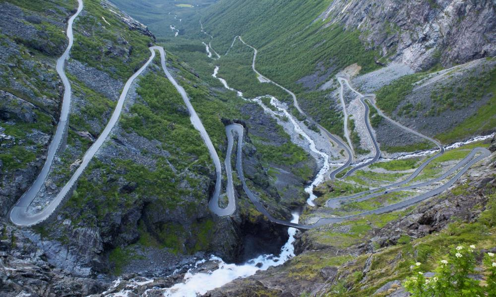The hairpin bends of the Trollstigen road, Norway