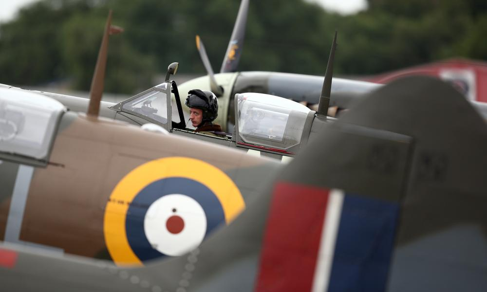 A pilot prepares to take off in a Spitfire.