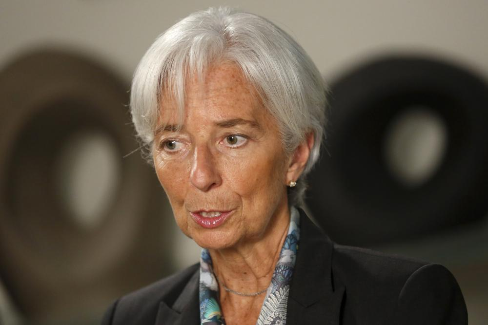 Lagarde sits for an interview at IMF headquarters in Washington.