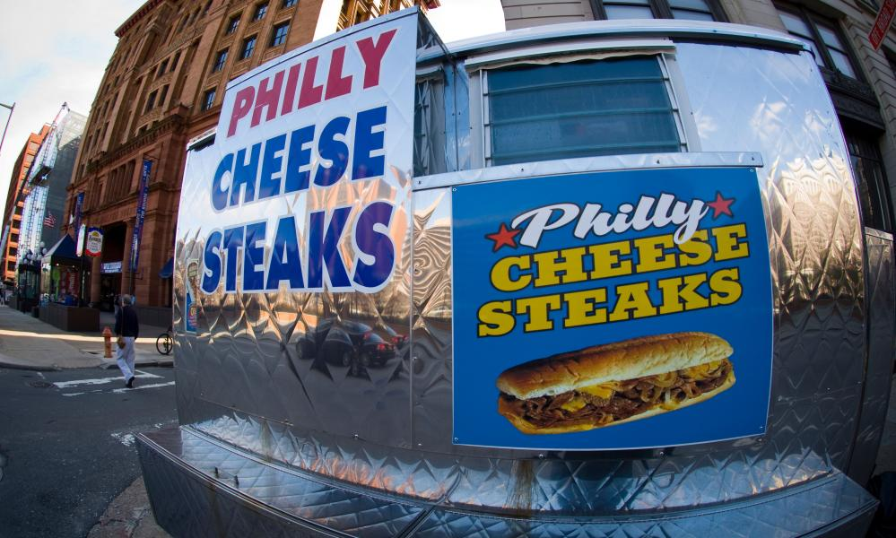 Food cart selling the iconic Philly cheesesteaks.