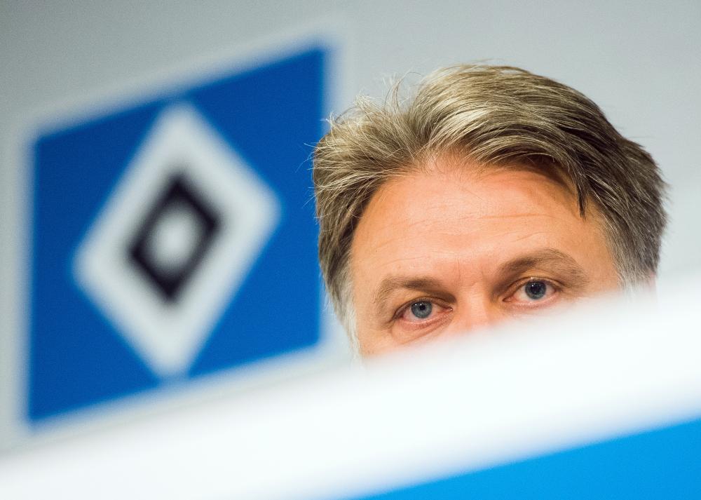 Hamburg CEO Dietmar Beiersdorfer talking at a press conference earlier this week.