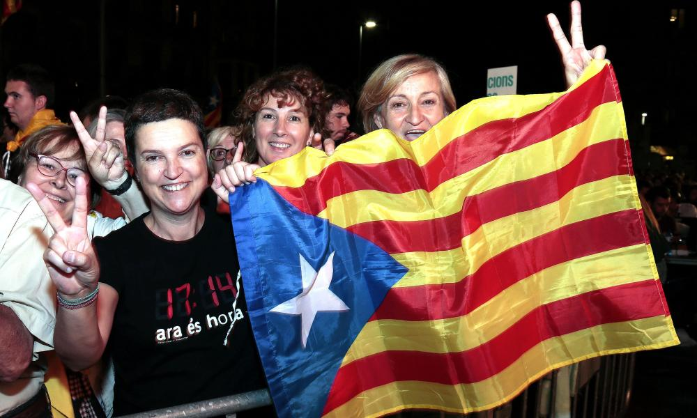 People celebrate the results of the regional elections held in Catalonia Catalonian parliamentary election in Barcelona.