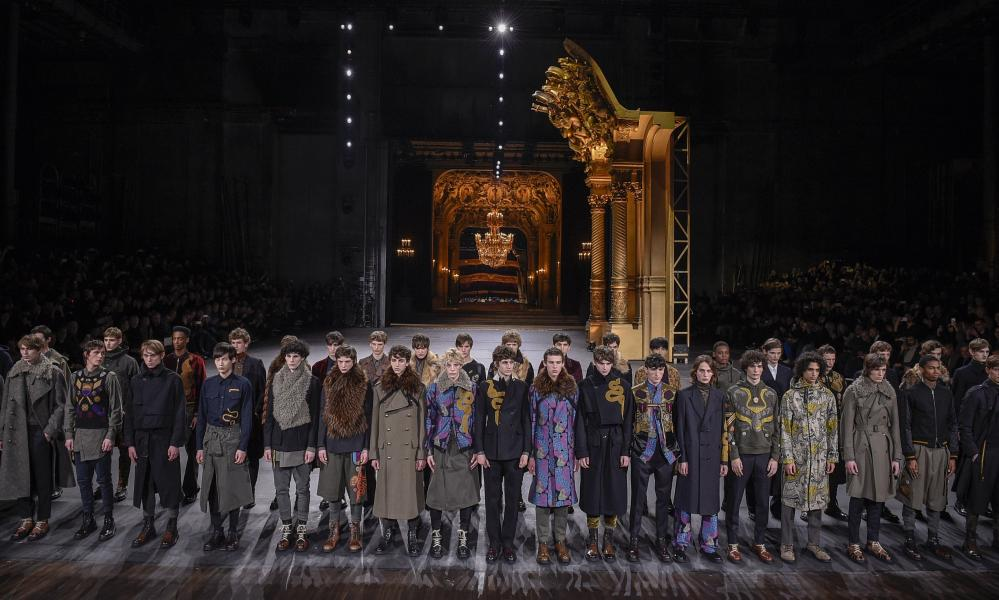 Models lining up to take a group bow at the Dries Van Noten show.