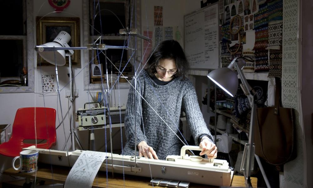 Mati Ventrillon at work in her studio.