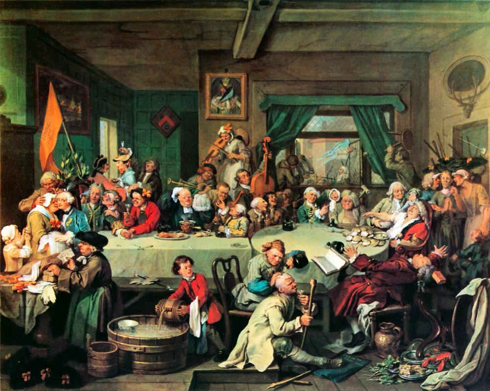 An Election Entertainment by William Hogarth (1754).
