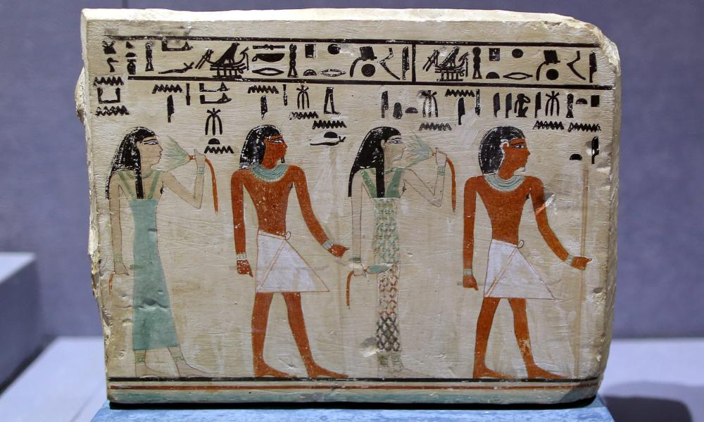 A close-up view of a painted rectangular limestone funerary stela of Nitptah displayed at the newly opened Cairo Airport Museum in Cairo, Egypt