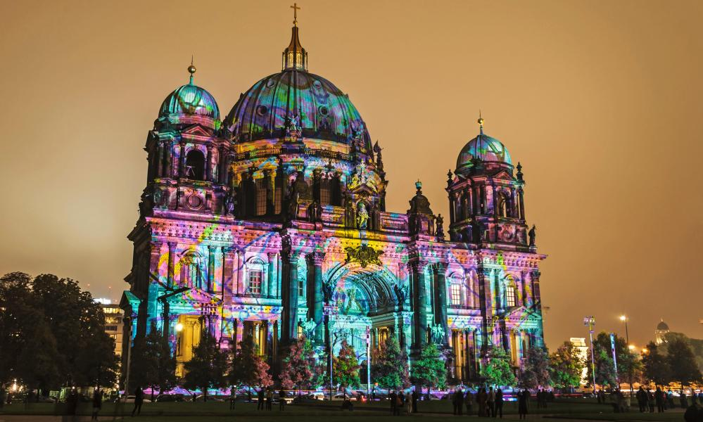 Berlin cathedral illuminated