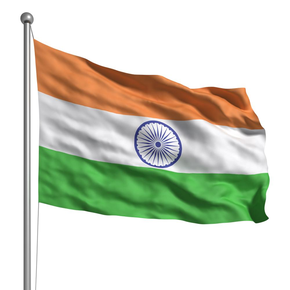 Flag of India. Rendered with fabric texture (visible at 100%). Clipping path included.<br />C4GEY3 Flag of India. Rendered with fabric texture (visible at 100%). Clipping path included.