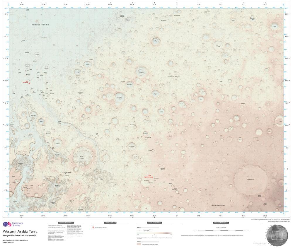 картасы Марс бетінің 3.8m шаршы шақырым қамтиды.