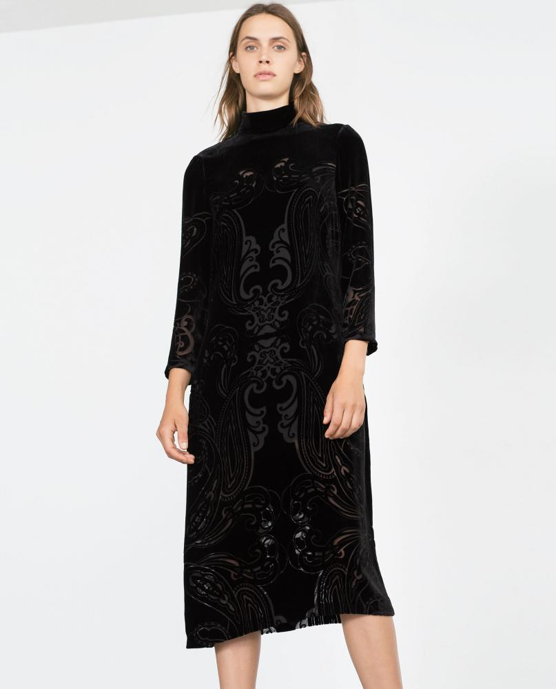 A velvet dress by Zara