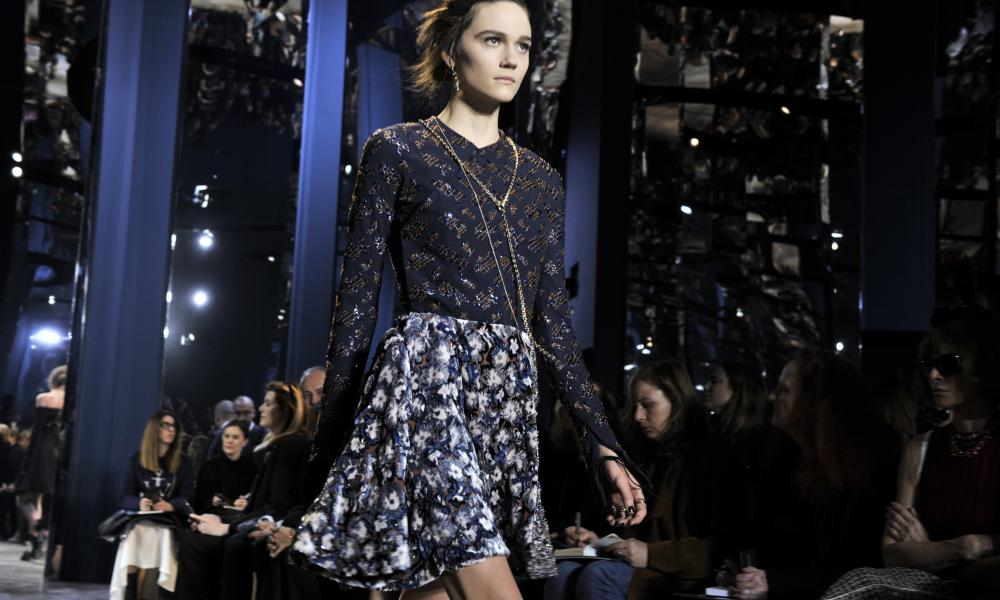 A model at the Christian Dior show in Paris