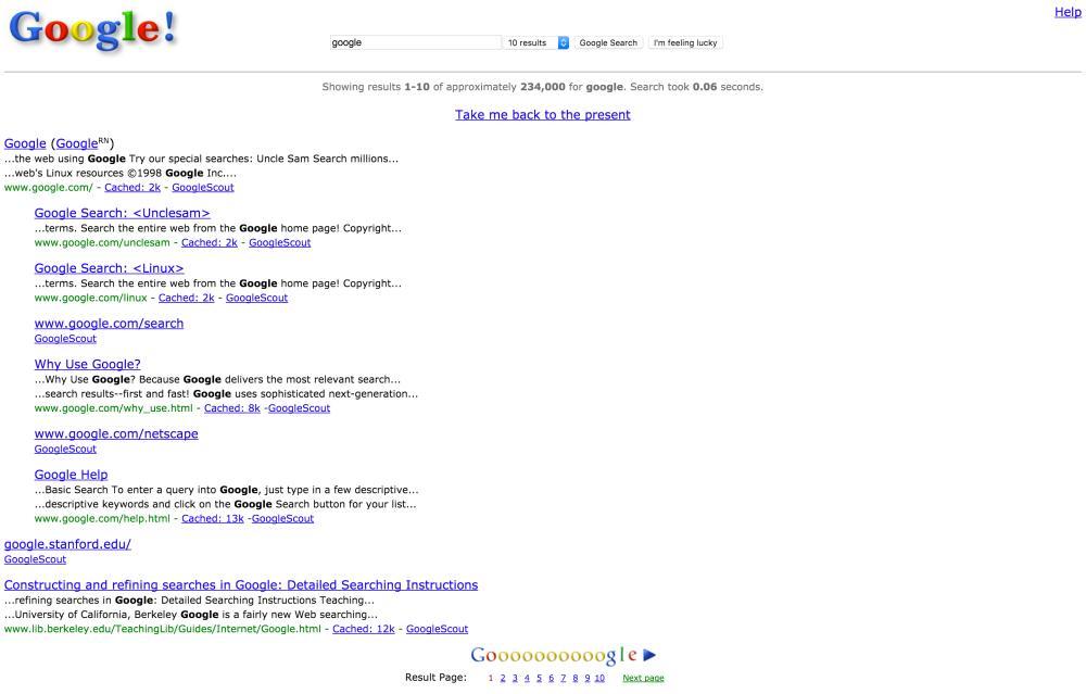 جوجل في 1998