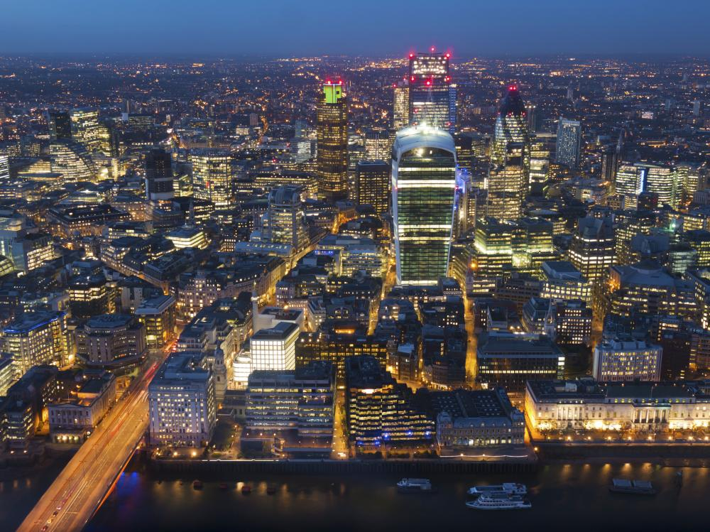 VARIOUS<br>Mandatory Credit: Photo by Charles Bowman/robertharding/REX Shutterstock (4143970a) Aerial London Cityscape dominated by Walkie Talkie tower at dusk, London, England, United Kingdom. City, Gherkin VARIOUS