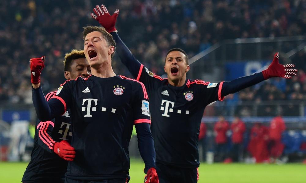 Robert Lewandowski celebrates after scoring his second goal of the game.