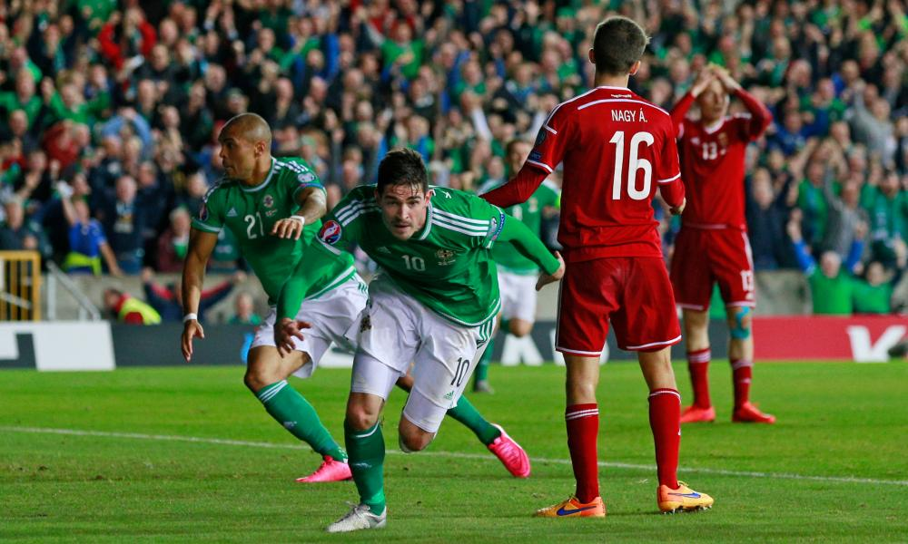 Kyle Lafferty, here celebrating his equaliser against Hungary, is suspended for Northern Ireland's match against Greece on Thursday.