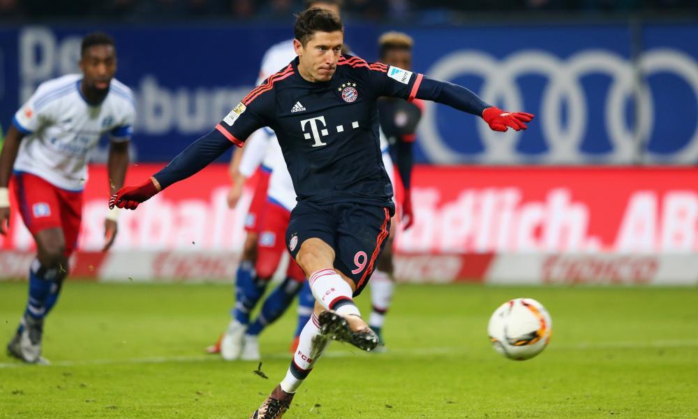 Robert Lewandowski puts Bayern Munich ahead from the penalty spot.