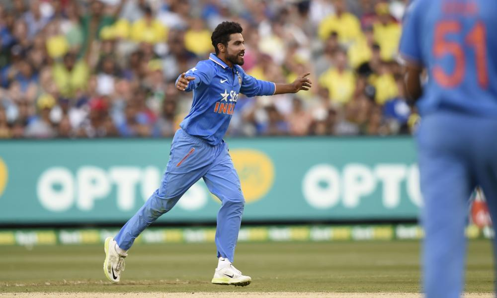 India's Ravi Jadeja celebrates the wicket of Steve Smith.