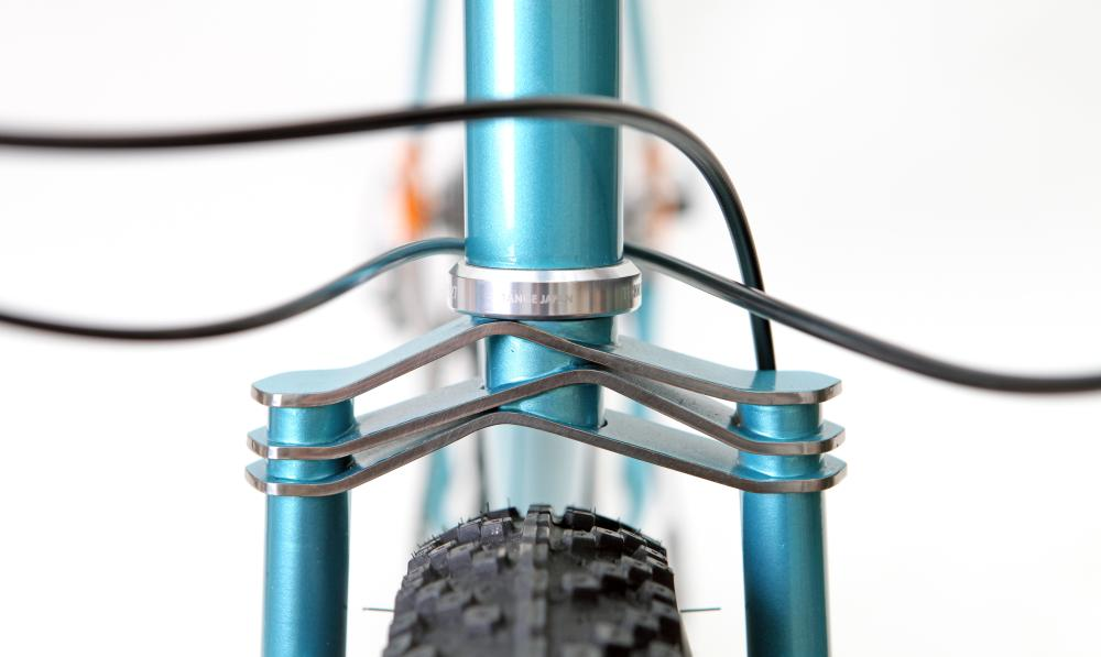 The fork crown of the Demi Porkeur by custom bike builder Hartley Cycles of London<em>.</em>