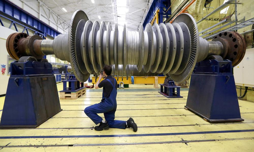 A turbine at Alstom power plant turbine refurbishment facility in Rugby.