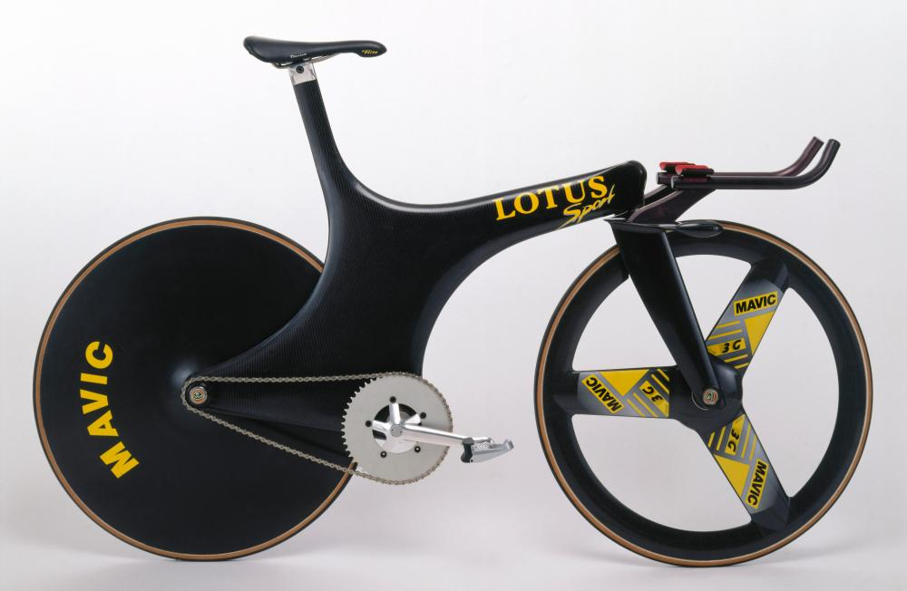 A replica of the Lotus 108 used by Chris Boardman to win gold in the 4km pursuit at the 1992 Barcelona Olympics.