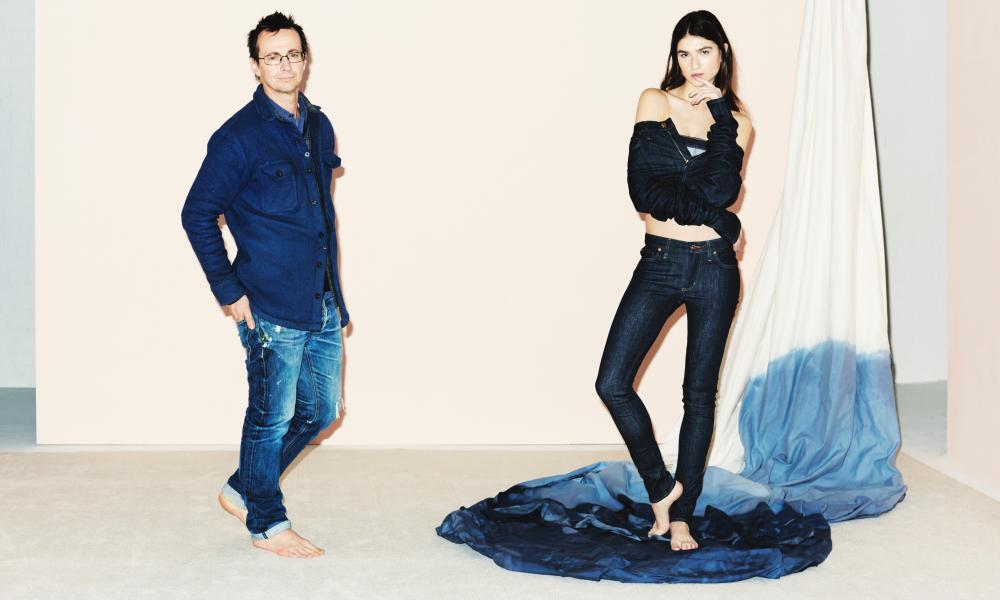Deep blue: David Hieatt with a model wearing Stelsby skinny cut jeans.