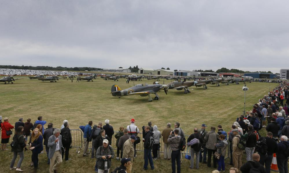 The planes on display at Biggin Hill.