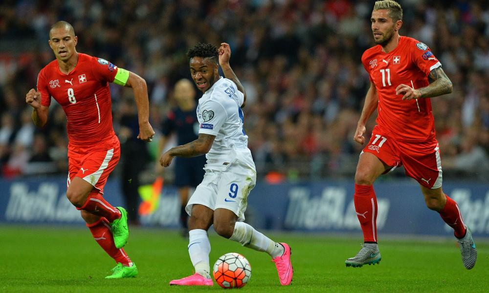Switzerland, here in action during their defeat by England at Wembley, need four points to guarantee second spot.