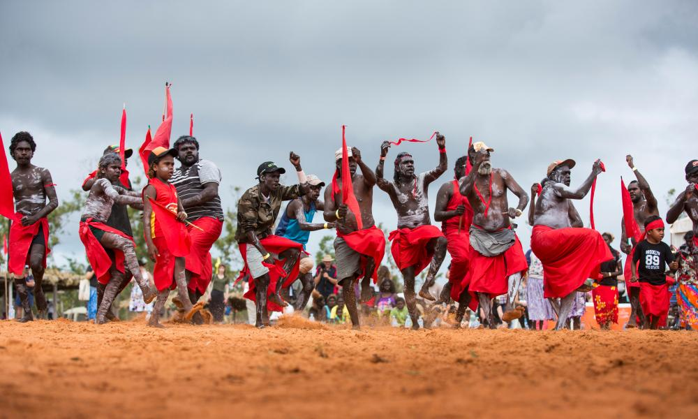 Red flag dancers from Numbulwarr performing ceremonial bunggul (dances) at the 17th annual Garma in north east Arnhem Land.