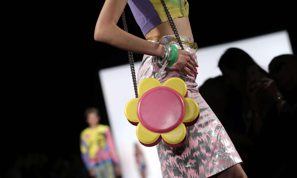 A model presents a creation by Jeremy Scott during his Spring/Summer 2016 collection at New York Fashion Week