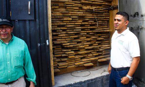 Rainforest Alliance is helping La Mosquitia's forestry cooperatives pursue sustainability in every sense. This processing facility uses a solar and sawdust-powered dryer to remove moisture from fresh-sawn timber.