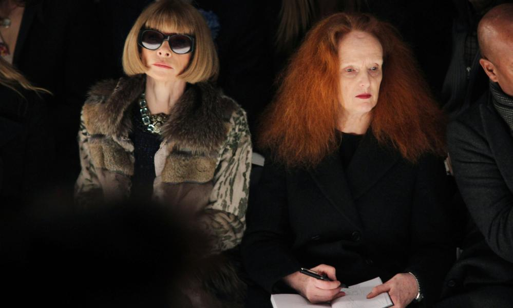 US Vogue editor Anna Wintour with Coddington, left, during Paris Fashion Week in 2010.