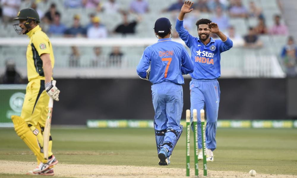 MS Dhoni and Ravindra Jadeja celebrate the wicket of George Bailey.